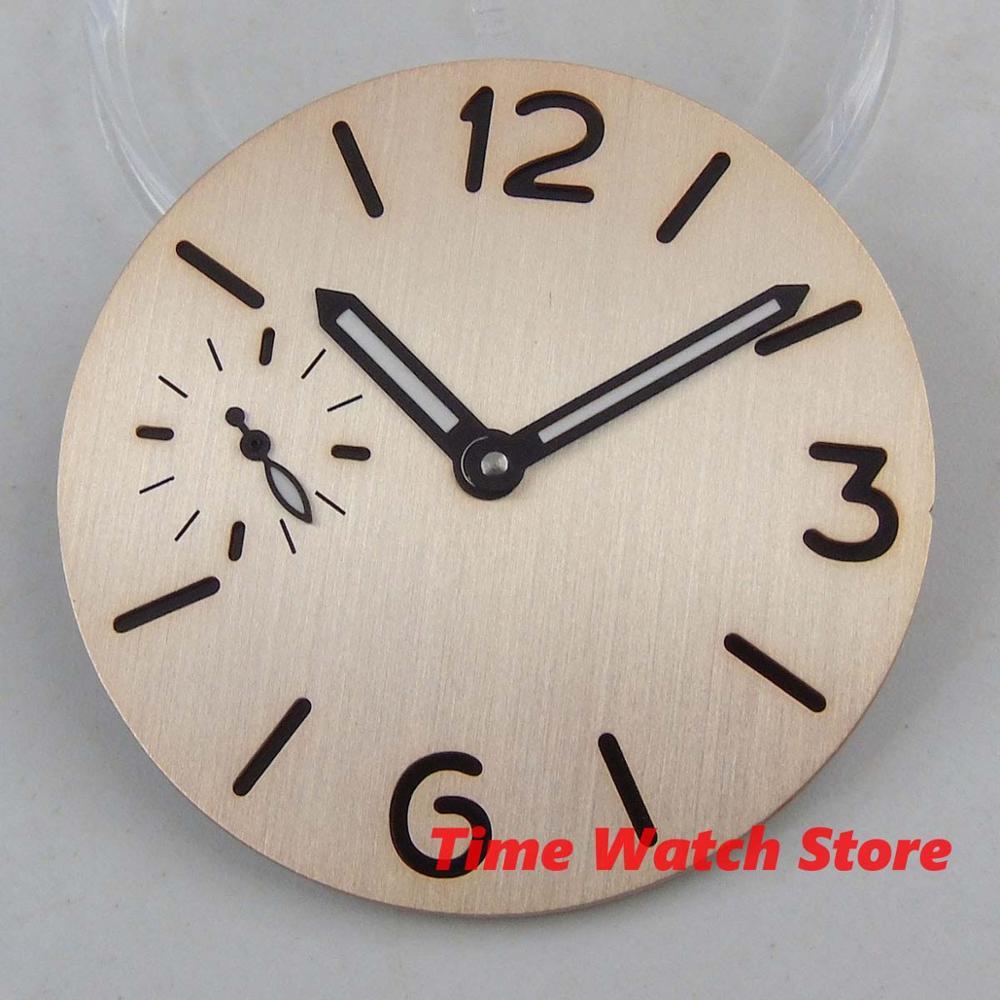 PARNIS 37.5mm Watch Men Sterile Beige Gray Dial Hands Fit ETA 6497 6498 ST 3600 Series Movement Watch D166/168