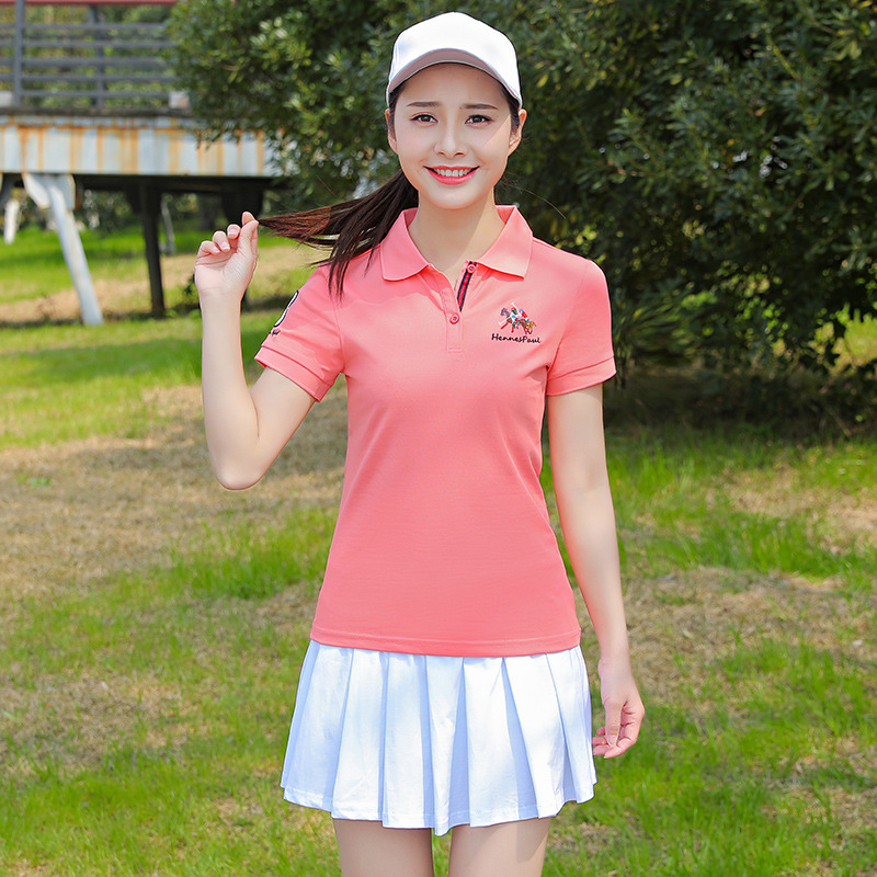 Summer Short-sleeved WOMEN'S Tennis Skirt Fold-down Collar Pullover Sports Clothing WOMEN'S Suit Casual Suit Skirt Slim Fit Slim
