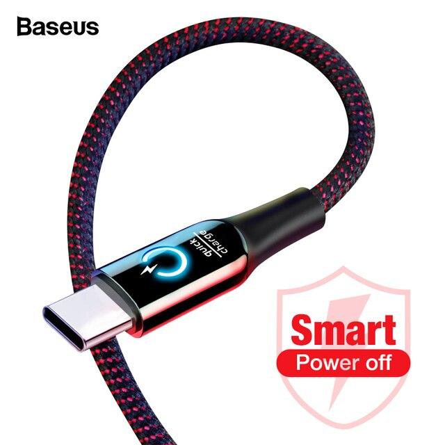 Baseus 3A Smart Power Off USB Type C кабель быстрое зарядное устройство Type-c кабель для Samsung S10 S9 Note 10 Oneplus 7 6t 6 USB-C кабель usbc