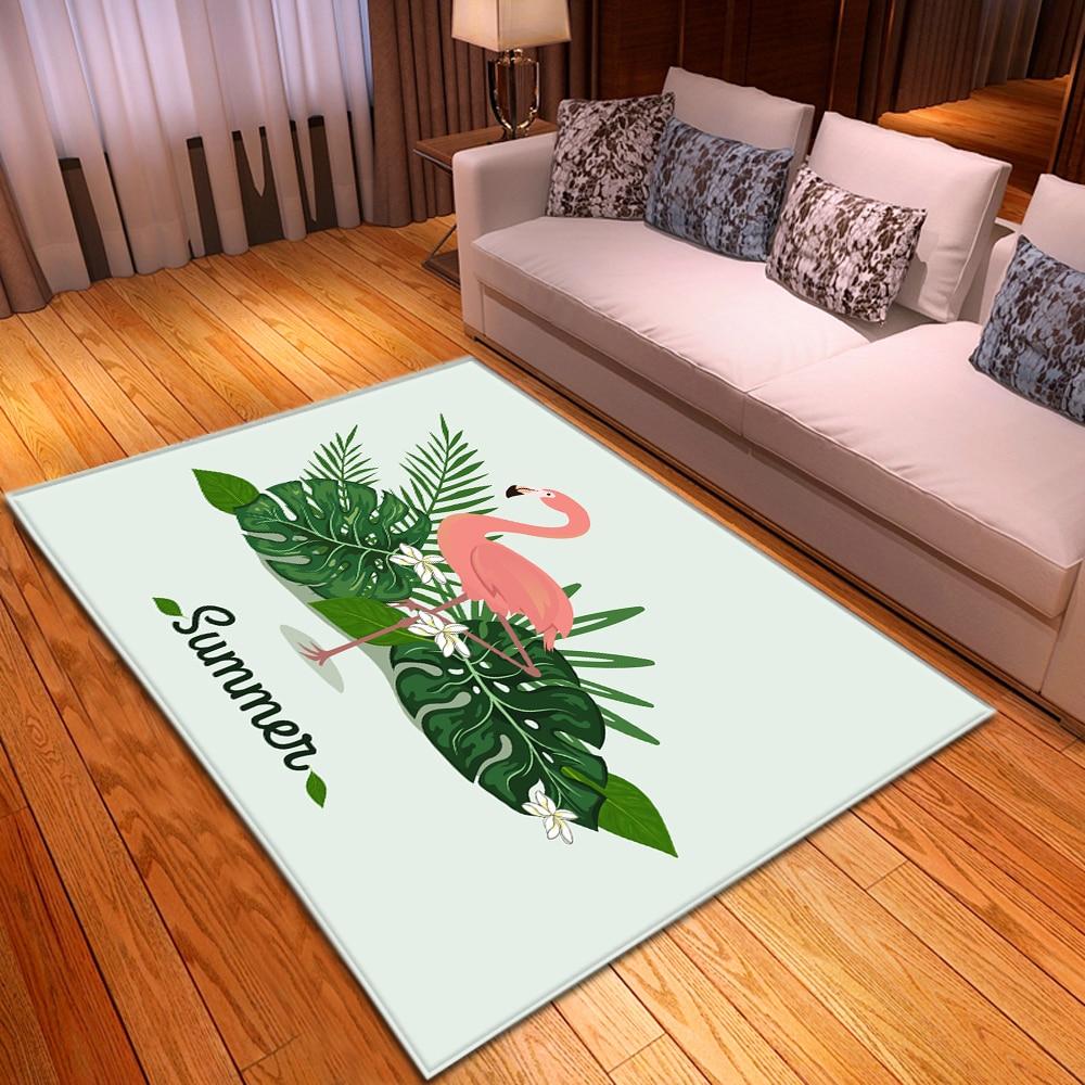 Cartoon Flamingo Carpet Kids Room Bedroom Decoration Mat Area Rug Anti-slip Flannel Girls Play Big Carpets For Home Living Room