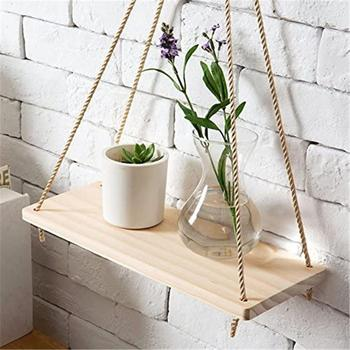 Premium Wood Swing Hanging Rope Wall Mounted Floating Shelves Plant Flower Pot indoor outdoor decoration simple design 2