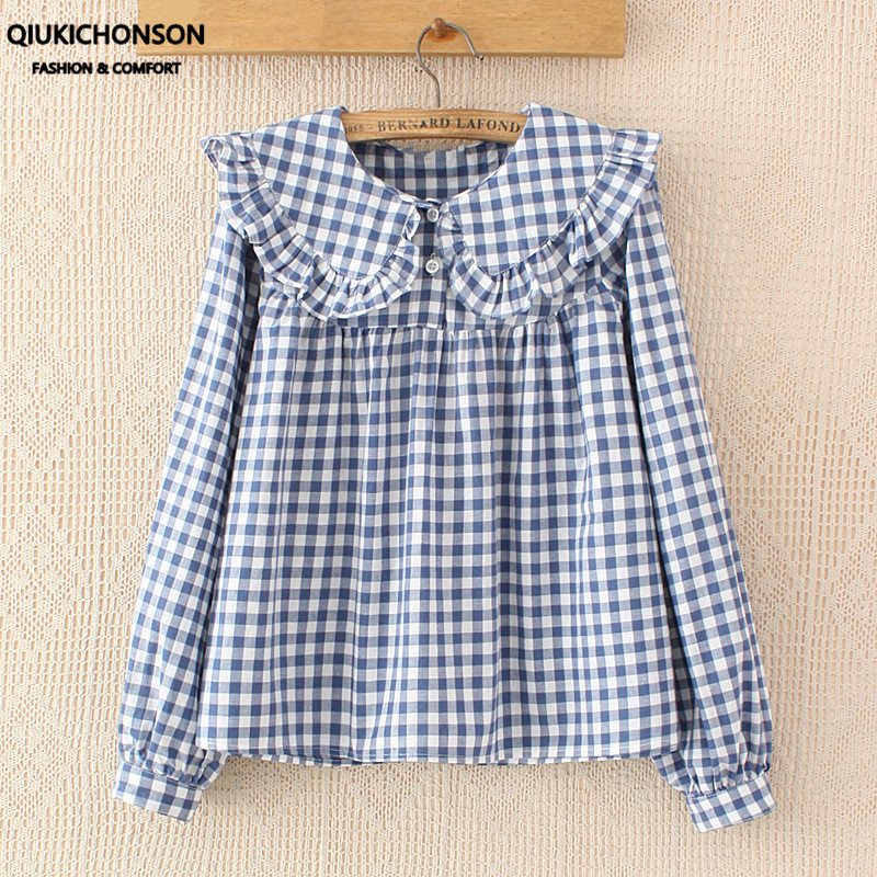 Women Plaid Shirt Long Sleeve Spring Summer Tops Ladies Japanese Mori Girl Peter pan Collar Cute Baby doll Cotton White Blouses
