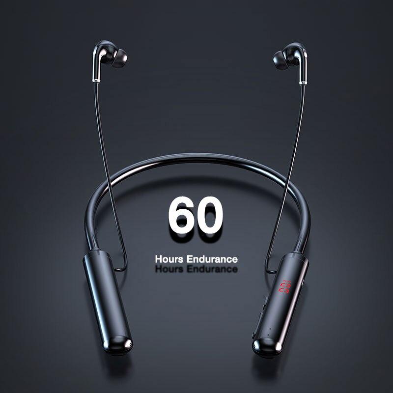 60 Hours Endurance Bluetooth Headphones Stereo Bass Wireless Headphone Neckband Power LED Display Headset TF Card Magnet sports|Bluetooth Earphones & Headphones|   - AliExpress