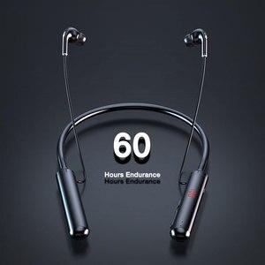 60 Hours Endurance Bluetooth Headphones Stereo Bass Wireless Headphone Neckband Power LED Display Headset TF Card Magnet sports