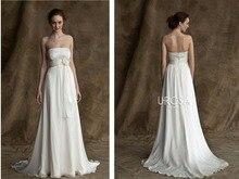 vestido de noiva a-line Sexy long White chiffon flower cheap Covered Bodice 2018 simple Vintage Bridal Gown bridesmaid dresses
