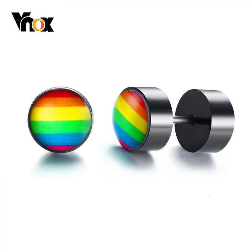 Vnox, радужные серьги-гвоздики для мужчин, нержавеющая сталь, винты, серьги в стиле панк, ювелирные изделия