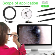 2 м USB эндоскоп инструмент для чистки ушей бороскоп 3 в 1 30 Вт миникамера наблюдения мобильные телефоны Фото Видео компьютеры в режиме реального времени