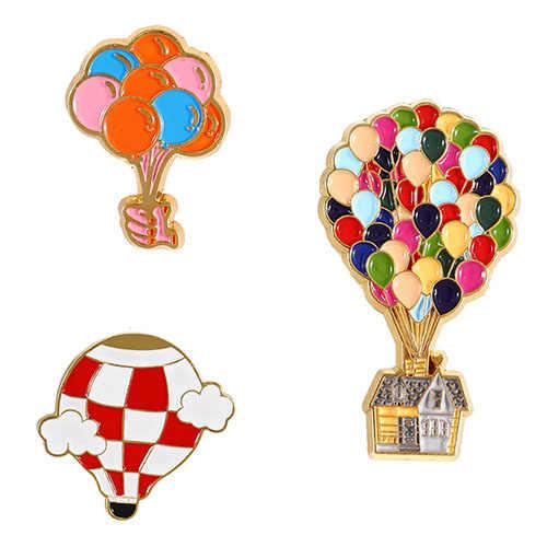 Warna-warni Balon Pin Film Kartun Lebih Tinggi Enamel Pin Balon Udara Panas Bros Lencana Kerah Pin Perhiasan
