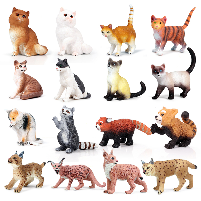Action&Toys Figure Wildlife Animal PVC Mini Pet Cat Lynx Raccoon Model Collectible Doll Figure Collection For Kid Gift Home Deco