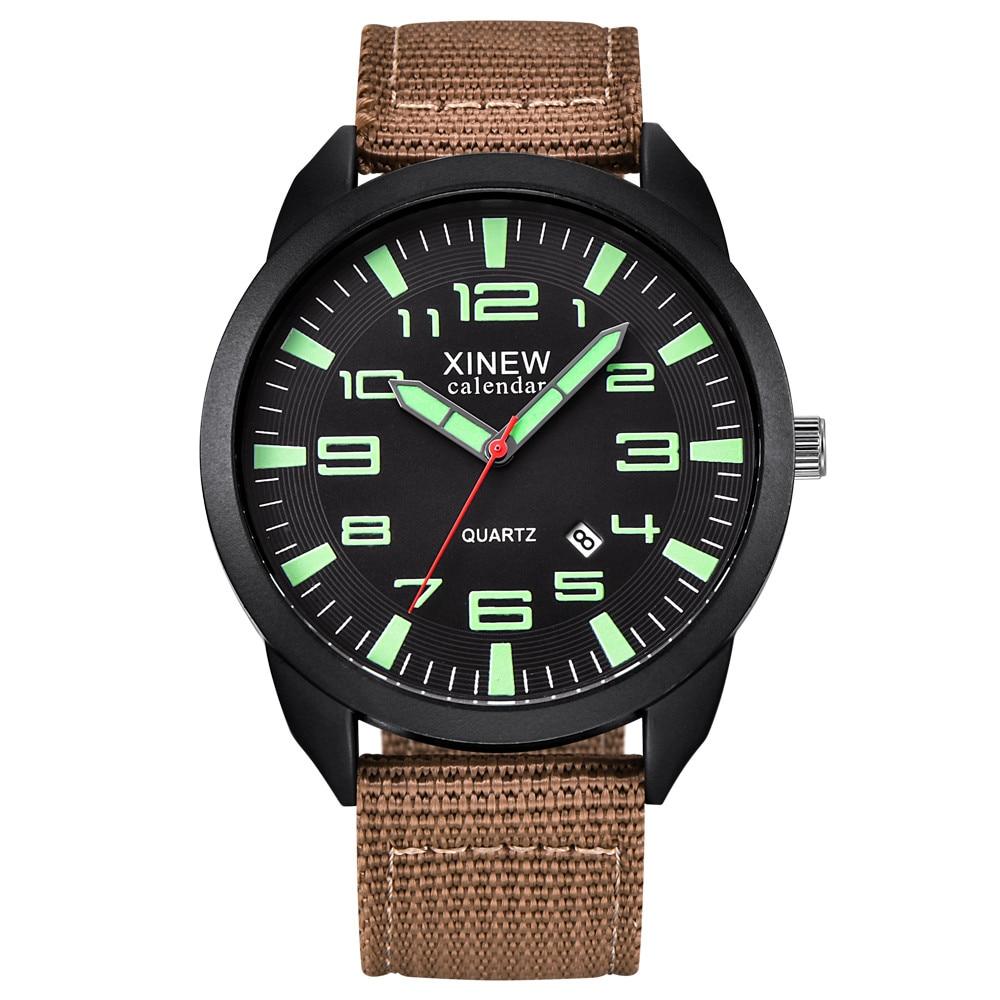 Montre militaire homme Quartz armée cadran noir Date de luxe Sport montre