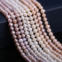 Natural Freshwater Cultured Pearls Beads Round 100% for Jewelry Making Necklace Bracelet Craft 13 Inches 6-7mm