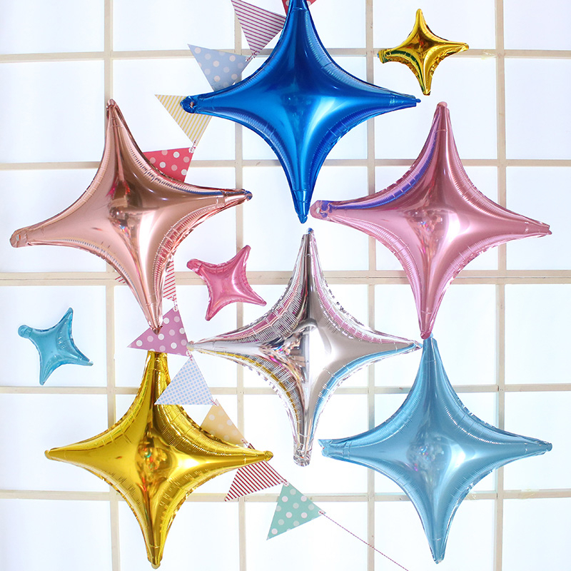 1PCS 10 Inch Four-pointed Star Foil Balloon Wedding Baby Birthday Party Decorations Kids Aluminum Macaron Star Balloon