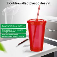 1 PC 500 Ml Kopi Jus Teh Piala Double-Walled Ice Cold Drink Dapat Digunakan Kembali Smoothie Plastik Es Tumbler Perjalanan mug dengan Jerami 25(China)