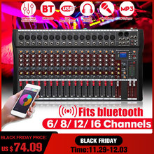 Mezclador de Audio de estudio profesional de 12 canales bluetooth USB Digital DJ consola de mezcla de sonido 48v Phantom Powers amplificador de Monitor(China)