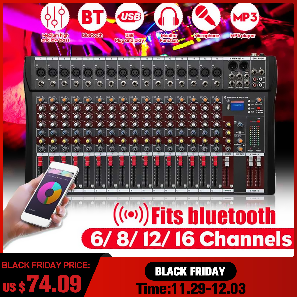 12 kanäle Professional Studio Audio Mixer bluetooth USB Digital DJ Sound Mischpult 48v Phantom Powers Monitor Verstärker