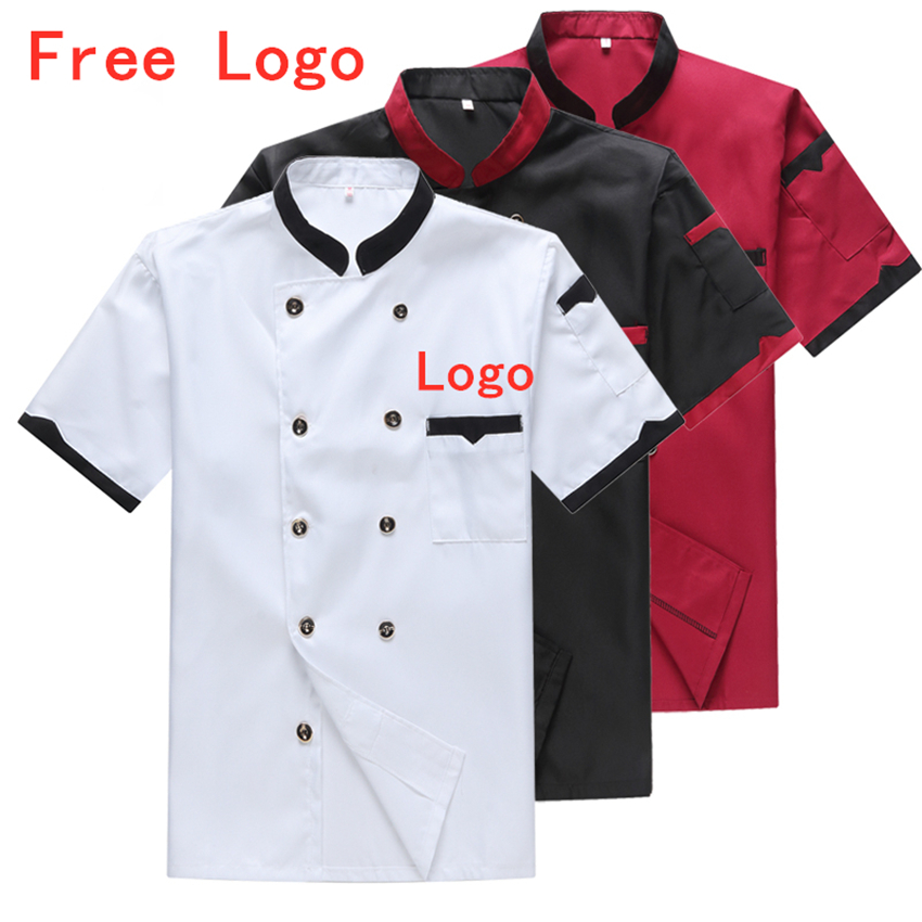 Summer Man Short Sleeve Chef Uniforms Free Logo Kitchen Restaurant Cook Jacket Double Breasted Bakery Apron Cap Work Clothes