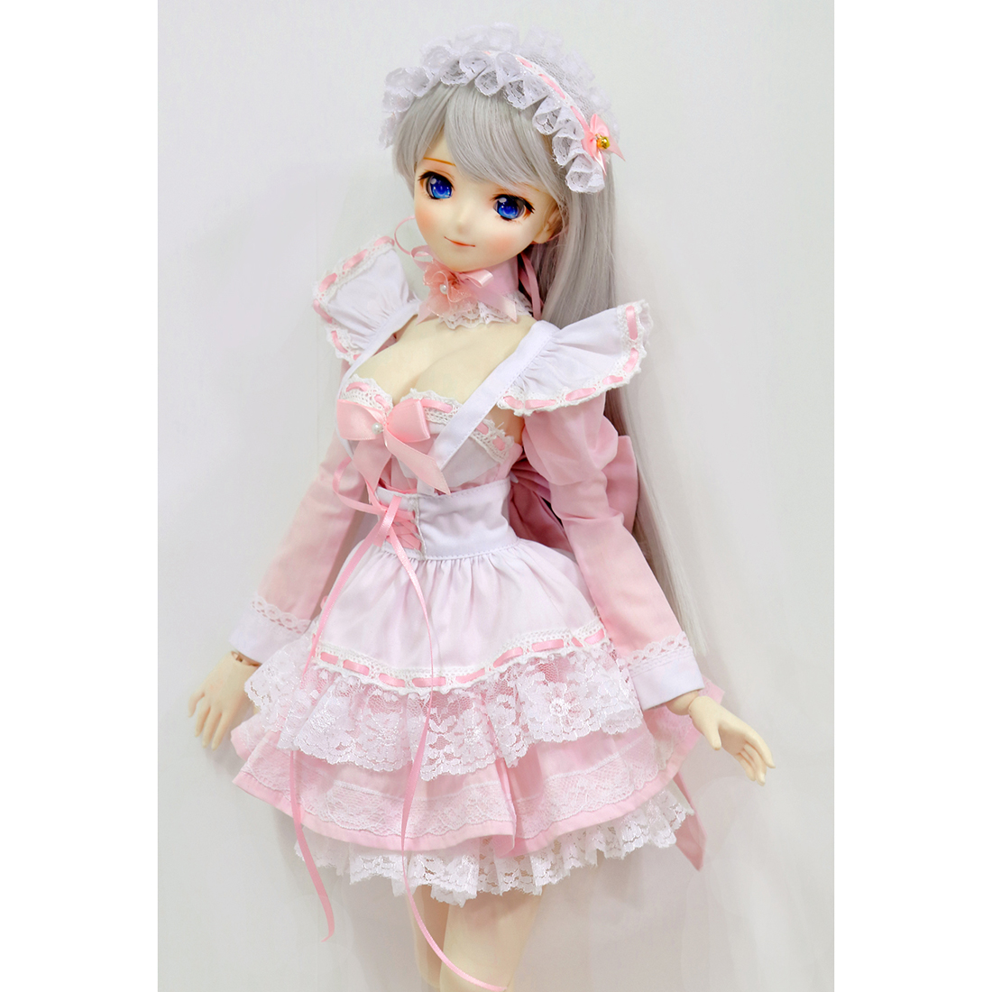 Bubble Dress Maid Outfit Clothes Set for 1/4 1/3 BJD Dolls - (Pink + White) No Doll