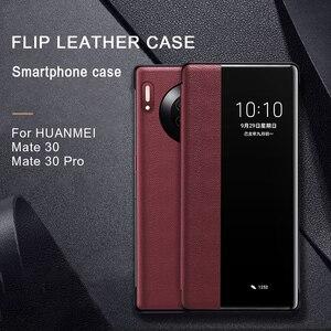 Cenmaso genuíno capa de couro flip para huawei companheiro 9 10 20 30 pro caso original espelho inteligente toque vista acordar dormir up proteção