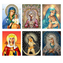 DIY diamond painting cross stitch religious icon 5d crystal embroidery mosaic Christmas decoration gift