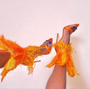 Sandalias de verano con tacón fino de plumas sexis para mujer, Sandalias de tacón de aguja sólidas para mujer, sandalias con tiras al tobillo, zapatos de vestir para mujer