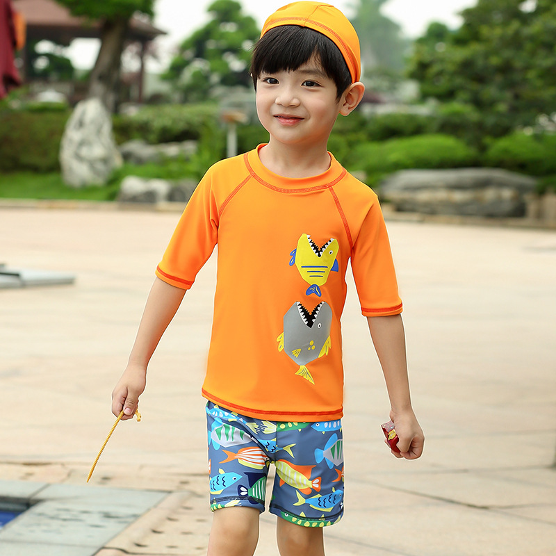Cartoon Small Fish Boy CHILDREN'S Swimwear Large Children Cute Split Type Short Sleeve Sun-resistant Quick-Dry Boxers Swimwear