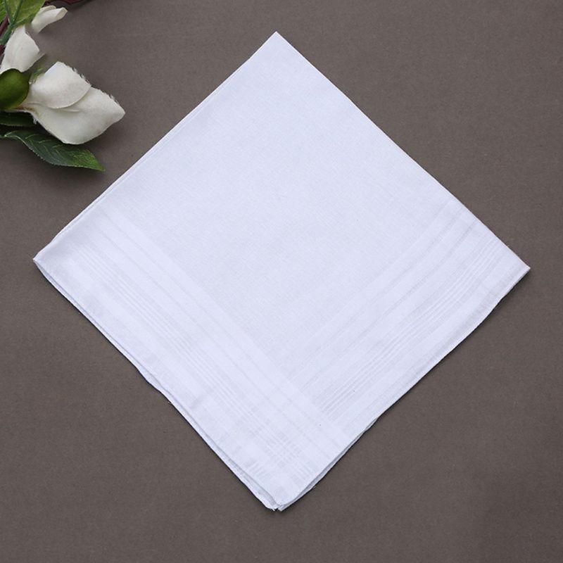 12Pcs/Set 40x40cm Men Women Cotton Handkerchiefs Pure White Classic Hankies Jacquard Striped Pocket Square Towel DIY Painting