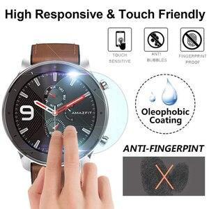 Image 1 - 2019 yeni 9H temperli cam ekran koruyucu için AMAZFIT GTR 42mm 47MM akıllı saat Anti Scratch kapak koruyucu şeffaf Film