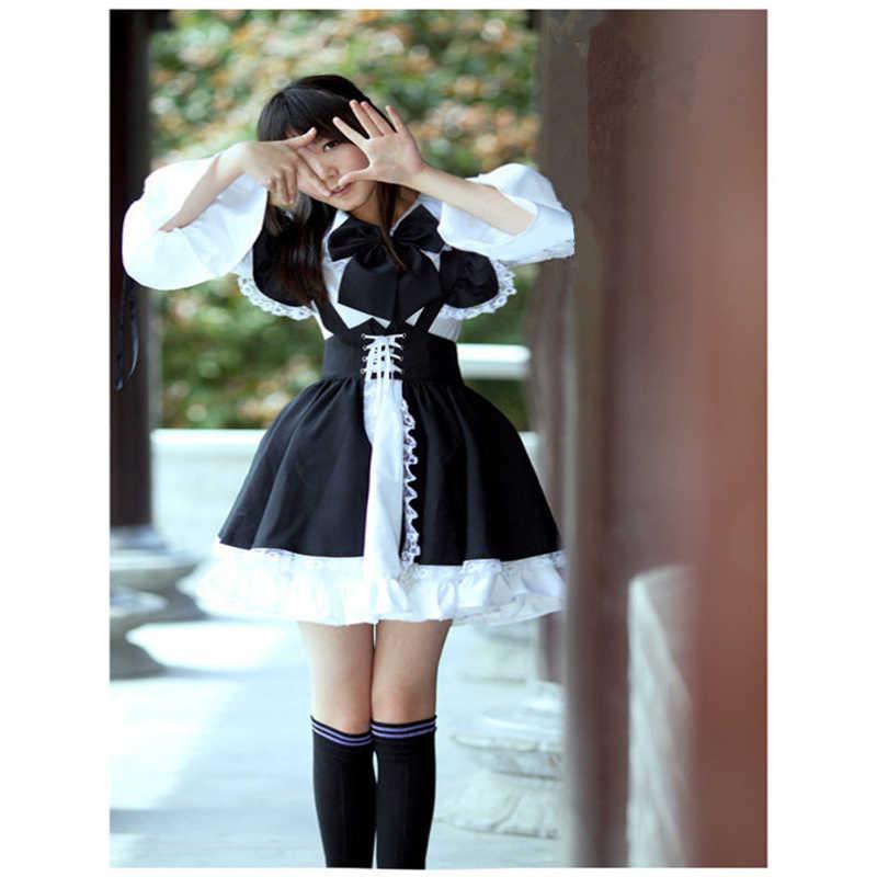 Hizmetçi elbise Cosplay filizlenme günü animasyon dünya kafeterya Cafe elbise, uzun elbise, siyah ve beyaz hizmetçi elbise masculin kostüm