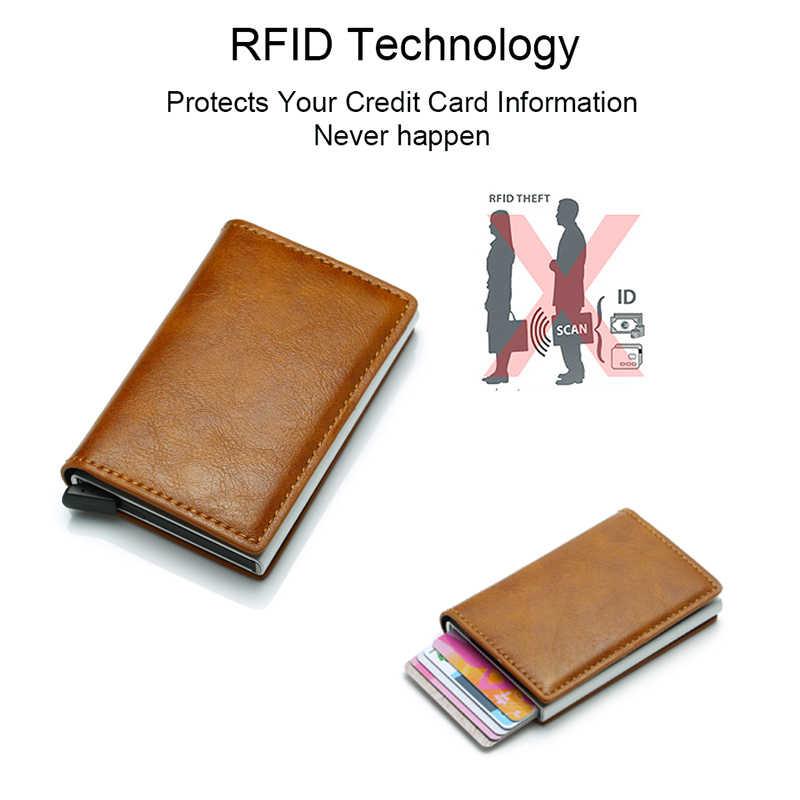 DIENQI karbon Fiber kart erkek cüzdan Metal Rfid erkek İnce ince cüzdan deri çanta para çanta siyah akıllı cüzdan Vallet cüzdan