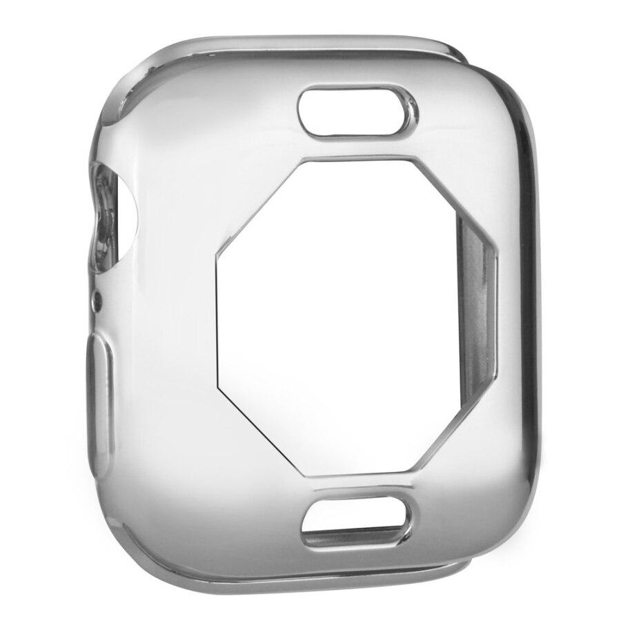 Чехол s для Apple Watch, 44 мм, 40 мм, серия 5, чехол с покрытием, TPU, мягкая защитная оболочка, защитная рамка для iWatch, 4 полосы, бампер - Цвет: SILVER