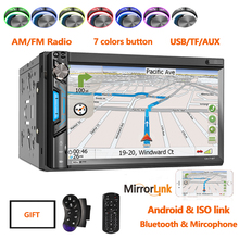 Radio 2din Fm/Am Mirrorlink Gps Bluetooth Multimedia Speler Auto Stereo 2 Din 7010B Plus Voor 7Inch Universele autoradio