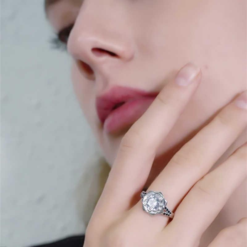 [Màu Đen Awn] Nhẫn Bạc 925 Nữ Bague Hoa Hợp Thời Trang Cưới Cho Nữ, Nhẫn Nữ Mặt Dây Chuyền Trang Sức Bạc G073