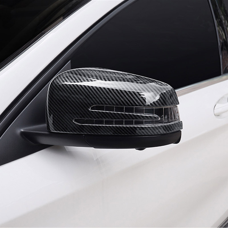 ForMercedes Benz A C CLA GLA GLK Class W176 W204 W117 X156 X204 Carbon Fiber ABS Chrome Side Door Rearview Mirror Cap Cover Trim