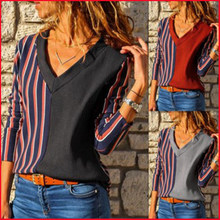Women Clothing Spring Fashion Tops Female V-neck Stripes Print Patchwork Long-sleeved Casual Loose T-shirt Plus Size Tee Shirts