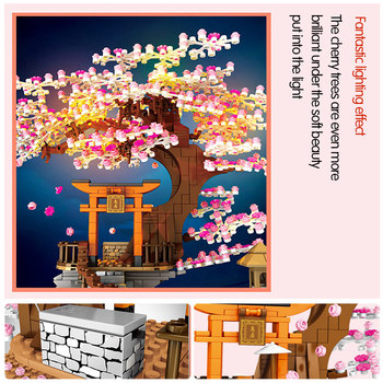 SEMBO City Street View Idea Sakura Inari Shrine Bricks Friends Cherry Blossom Technic Creator House Tree Building Blocks Toys 5