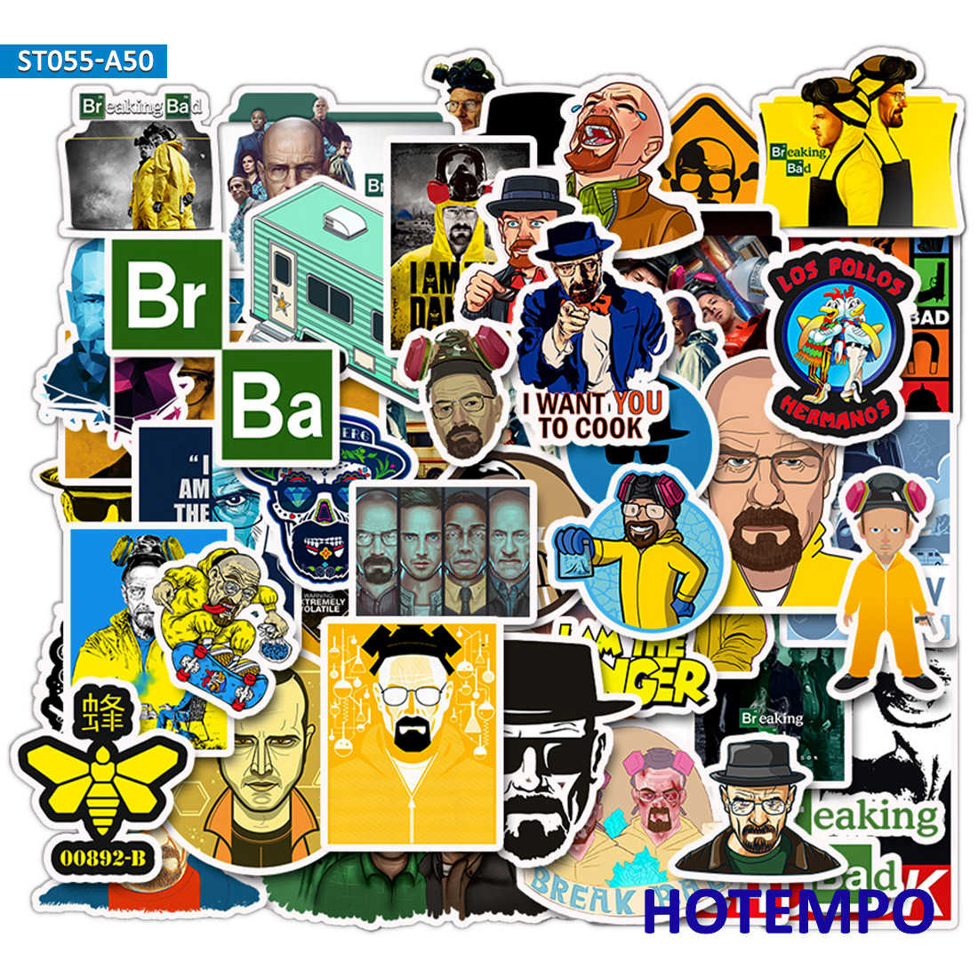 50pcs Breaking Bad Stickers Plot Crime Style TV For DIY Mobile Phone Laptop Luggage Case Guitar Skateboard Anime Decal Stickers
