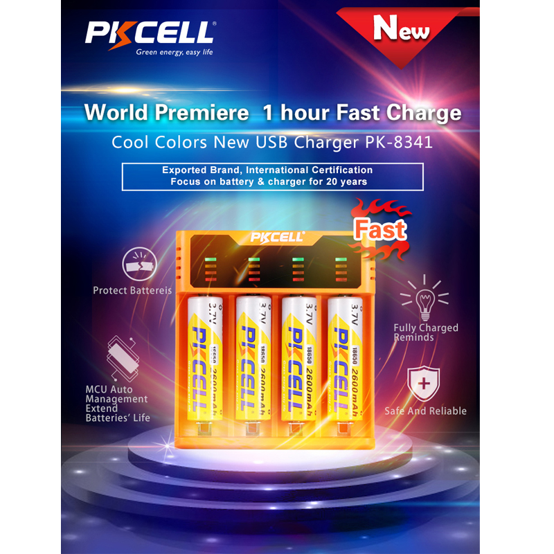 PKCELL Smart <font><b>battery</b></font> charger for <font><b>1.2V</b></font> 3.7V 3.2V <font><b>AA</b></font> AAA 26650 NiMH <font><b>nicd</b></font> li-ion battery18650 <font><b>batteries</b></font> 5V 2A with LED Display image