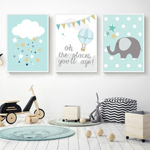 Hot Air Balloon Canvas Painting Kids Poster Nordic Elephant Blue Nursery Decorative Pictures Babi