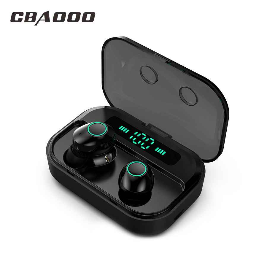 Cbaooo Tws 5.0 Bluetooth Earphone Headset Power LED Display Nirkabel Earbud IPX7 Tahan Air Sport Earphone Stereo Bass Earpiece