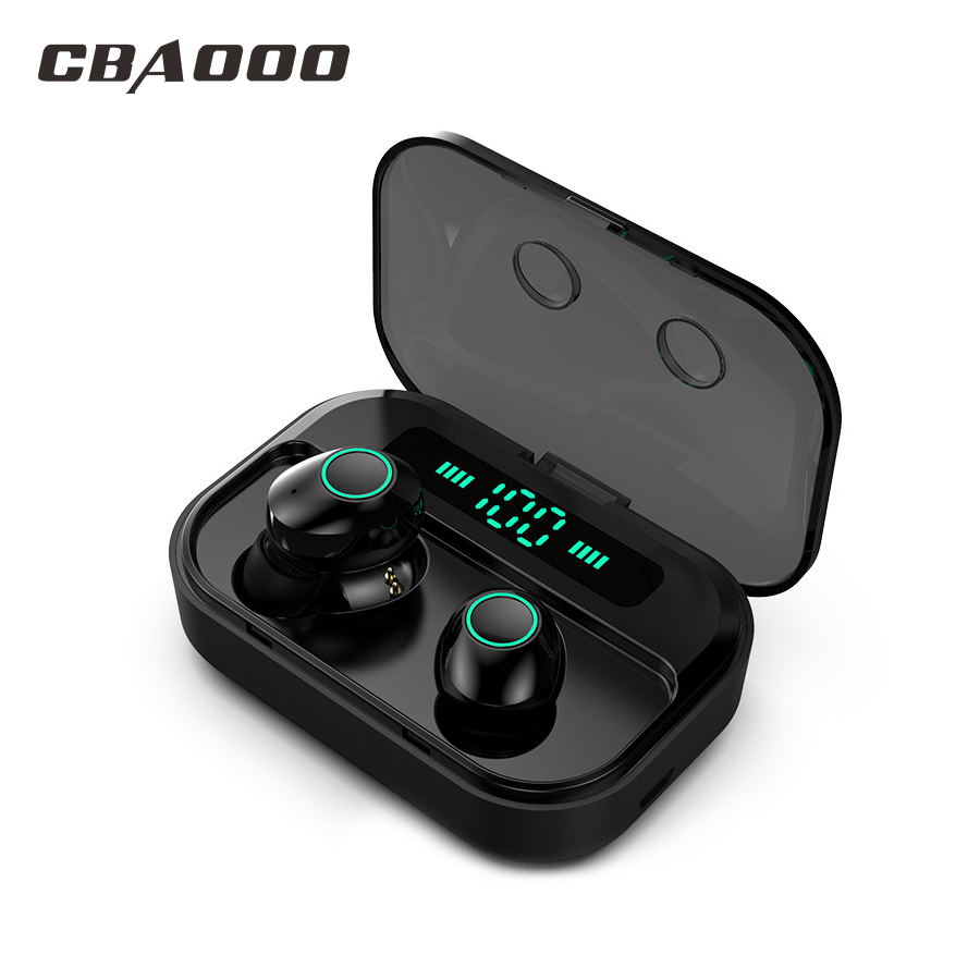 CBAOOO TWS 5.0 Bluetooth Earphone Headset Power LED Display Wireless Earbuds IPX7 Waterproof Sport Earphone Stereo Bass Earpiece