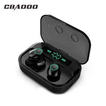 CBAOOO TWS 5.0 Bluetooth Earphone Headset Power LED Display Wireless Earbuds IPX7 Waterproof Sport Earphone Stereo Bass Earpiece