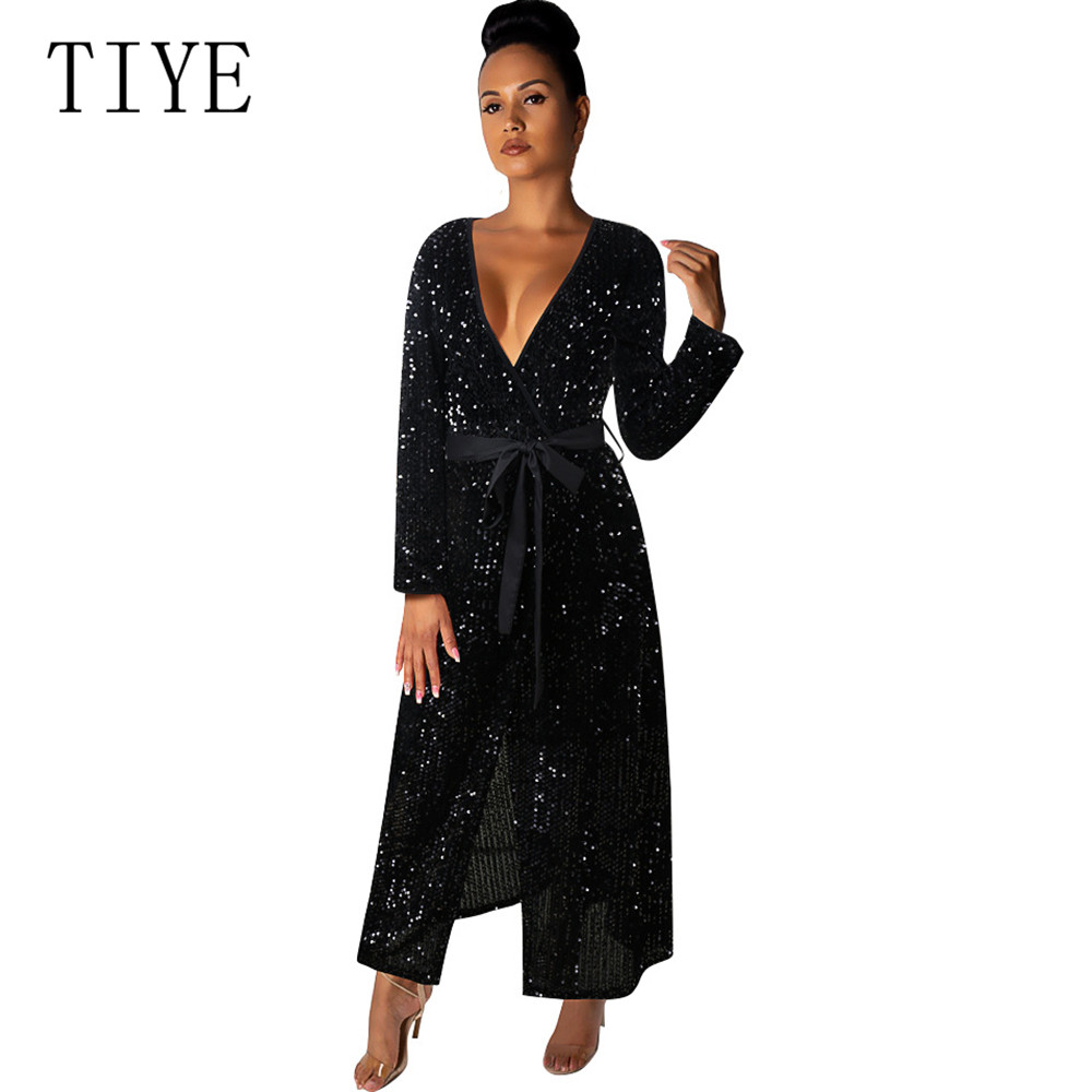 TIYE New Autumn Solid Color Stitching Sequins Sexy Deep V neck Long Sleeved Dress Bandaged Split Party Night Club Dress Female in Dresses from Women 39 s Clothing