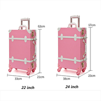 Amarte 2019 Pink PU Leather Rolling Luggage Set Spinner Suitcase Wheel Vintage Cabin Trolley Women's Handbag Travel Bag