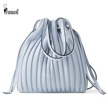 FUNMARDI Brand Design PU Leather Shoulder Bag Pleated Stripe Bucket Bag Ladies Crossbody Bag For Women Bag 2021 Handbag WLHB3081