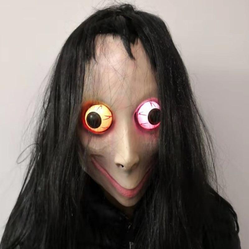 LED momo mask horror halloween mask masquerade cosplay mascara Tern Death Game mascaras de latex realista terror Female Ghost