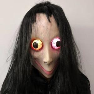 LED momo maska horror maska halloween masquerade cosplay mascara Tern śmierć gra mascaras de latex realista terror kobieta duch