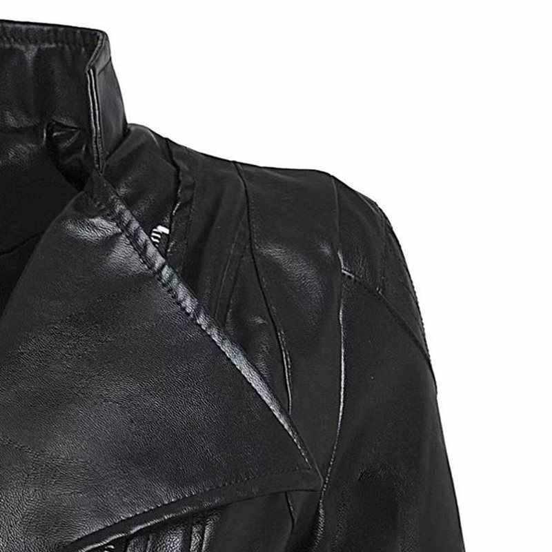 Plus rozmiar 3XL kobiety zima Gothic czarna sztuczna skóra kurtki zamek płaszcz typu basic skręcić w dół kołnierz Vintage odzież motocyklowa