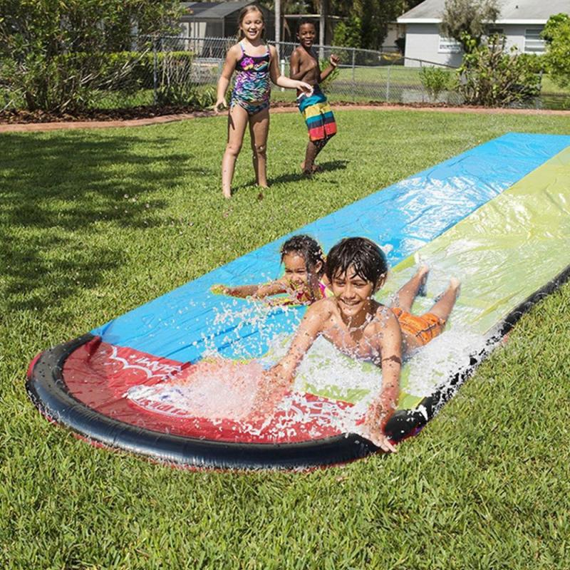 Water Slide Pools Fun Lawn Game Interesting Summer Water Sports Toy Durable Double Water Slide Bed Backyard Family Entertainment