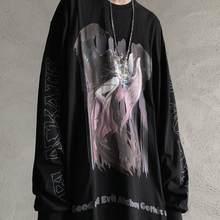QWEEK – t-shirt gothique à manches longues pour Couple, Streetwear, Vintage, rétro, Harajuku, diable imprimé, centre commercial, hauts, 2021