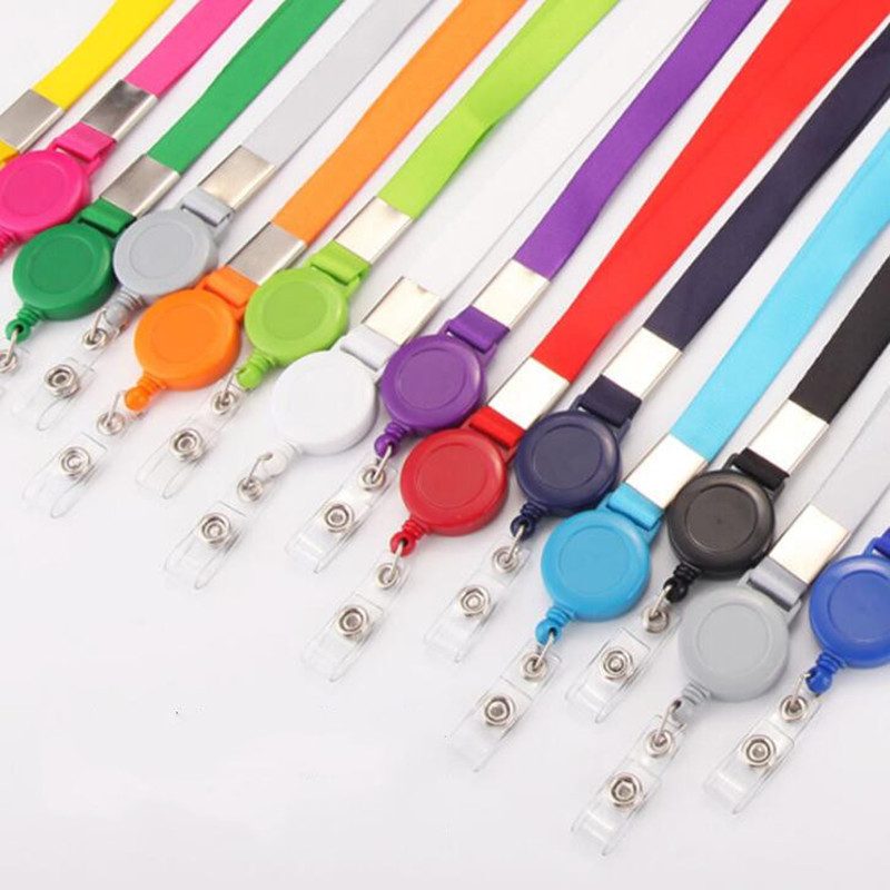 1pc Variety Colors Retractable Lanyard Neck Strap Badge Holder Credit Card ID Holders Name Card  Badge Clip  Office Supplies